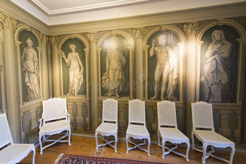 Interno del castello di Oberhofen, Svizzera immagine stock