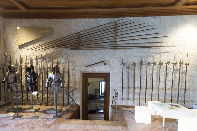Interno del castello di Oberhofen, Svizzera fotografie stock