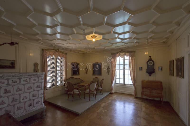 Interno del castello di Oberhofen, Svizzera fotografia stock libera da diritti