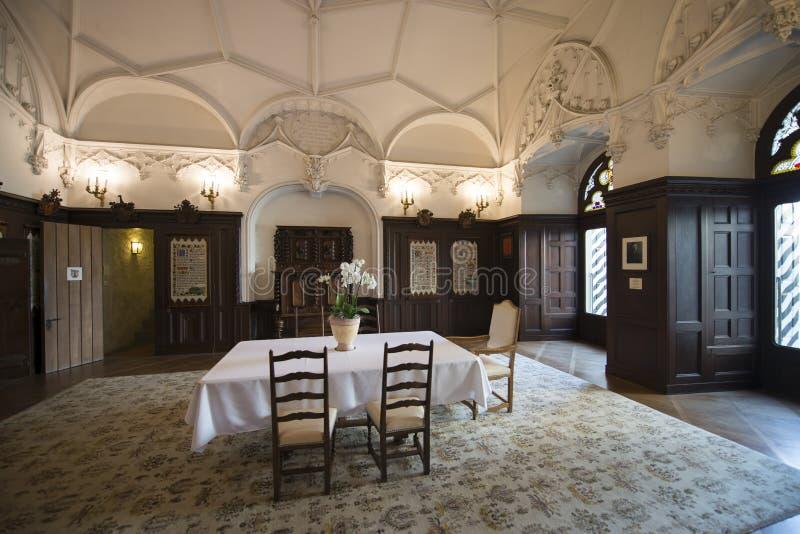 Interno del castello di Oberhofen, Svizzera fotografia stock