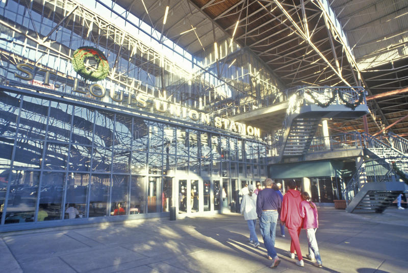 Interno del centro commerciale della stazione del sindacato, St. Louis, Mo fotografie stock libere da diritti