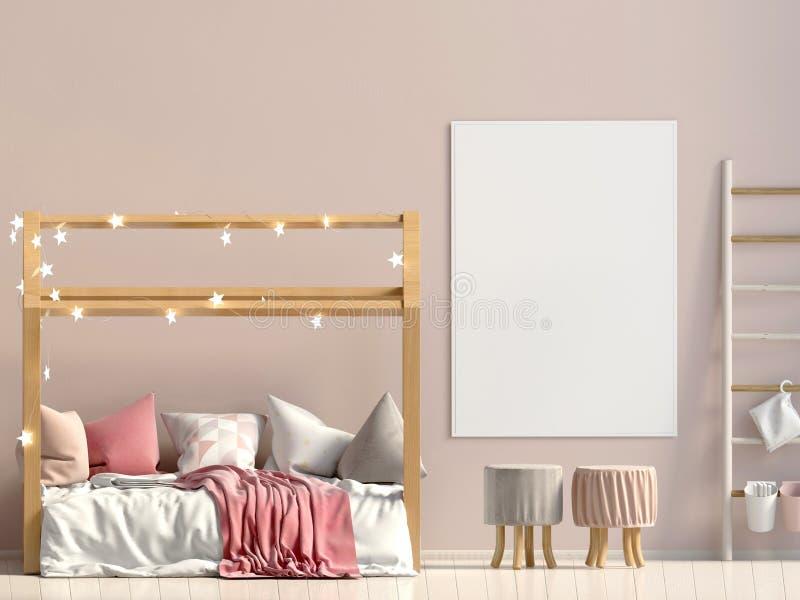 Interno del childroom posto di sonno Stile moderno illu 3d illustrazione di stock