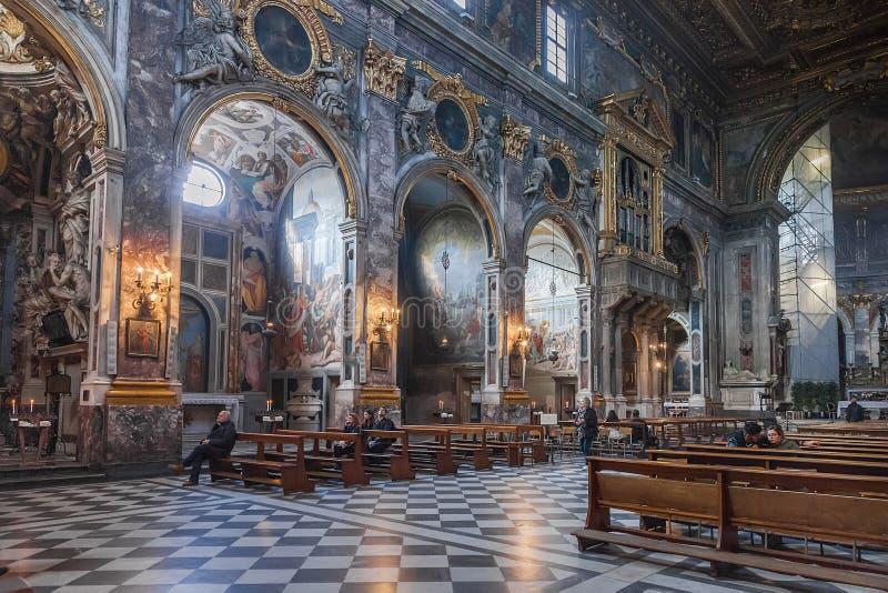 Interno del della Santissima Annunziata della basilica a Firenze fotografia stock libera da diritti