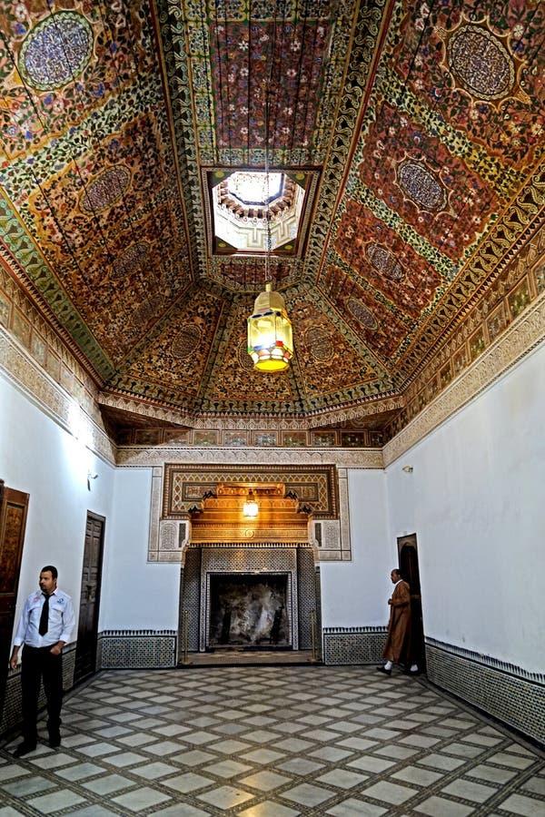 Interno del EL Bahia Palace a Marrakesh immagini stock