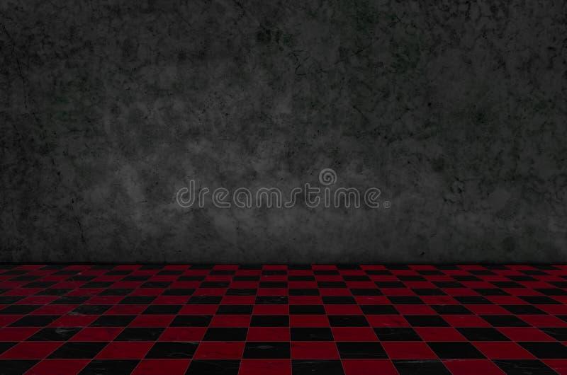 Interno del fondo di scacchi in una stanza scura e muschio sulla parete fotografia stock libera da diritti