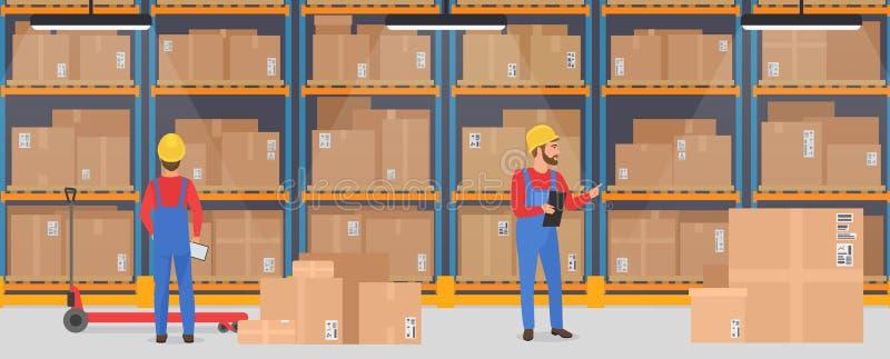 Interno del magazzino di vettore con i lavoratori Concetto logistico dell'insegna di servizio del carico di consegna illustrazione di stock