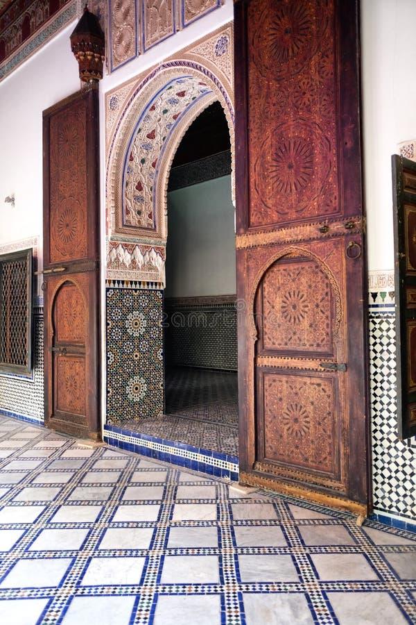 Interno del museo di EL Bahia Palace a Marrakesh immagine stock