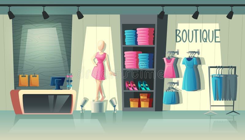 Interno del negozio dell'abbigliamento di vettore, boutique di modo dentro illustrazione di stock