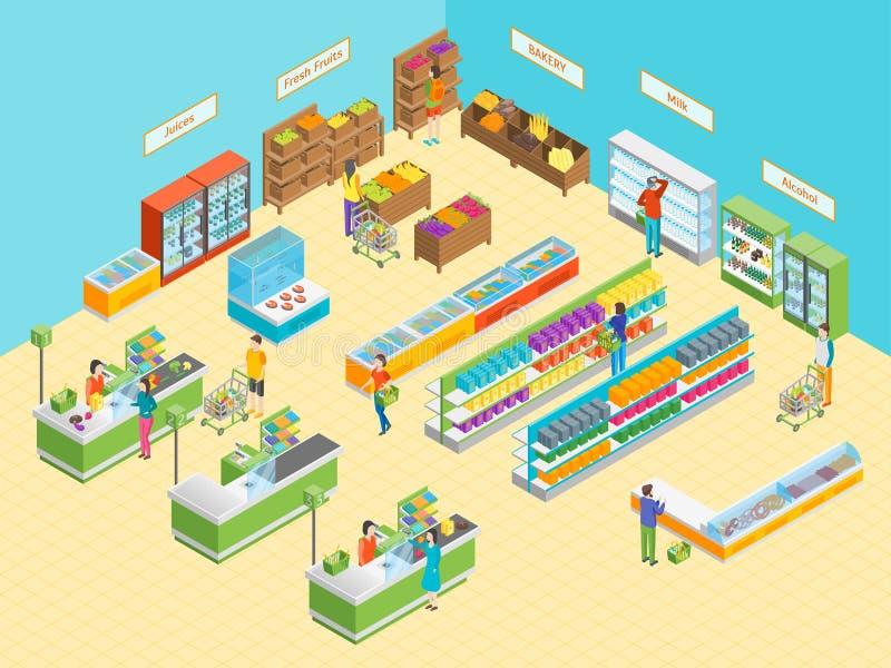 Interno del negozio o del supermercato con la vista isometrica della mobilia Vettore illustrazione di stock