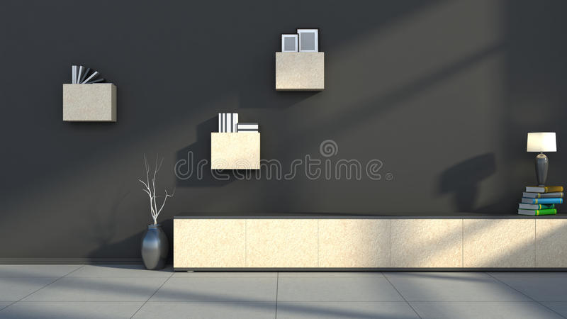 Interno del nero con la lampada e lo scaffale illustrazione vettoriale