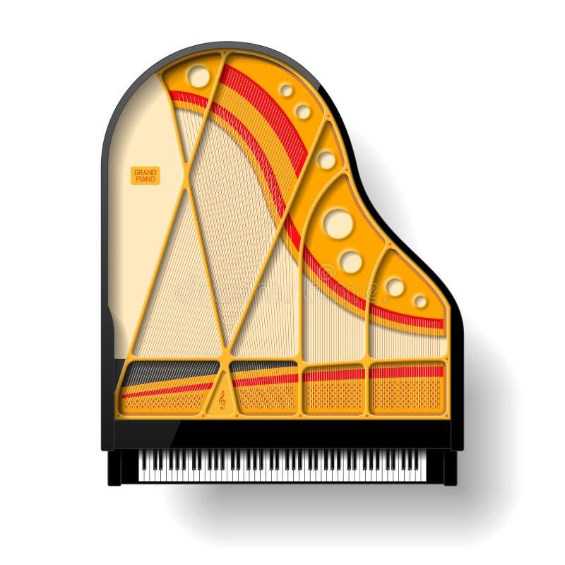 Interno del pianoforte a coda illustrazione vettoriale