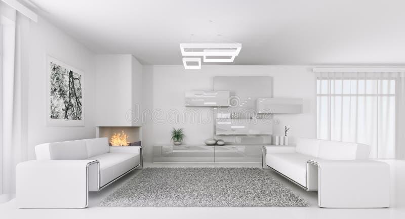 Interno del salone bianco moderno 3d illustrazione di for Disegno stanza
