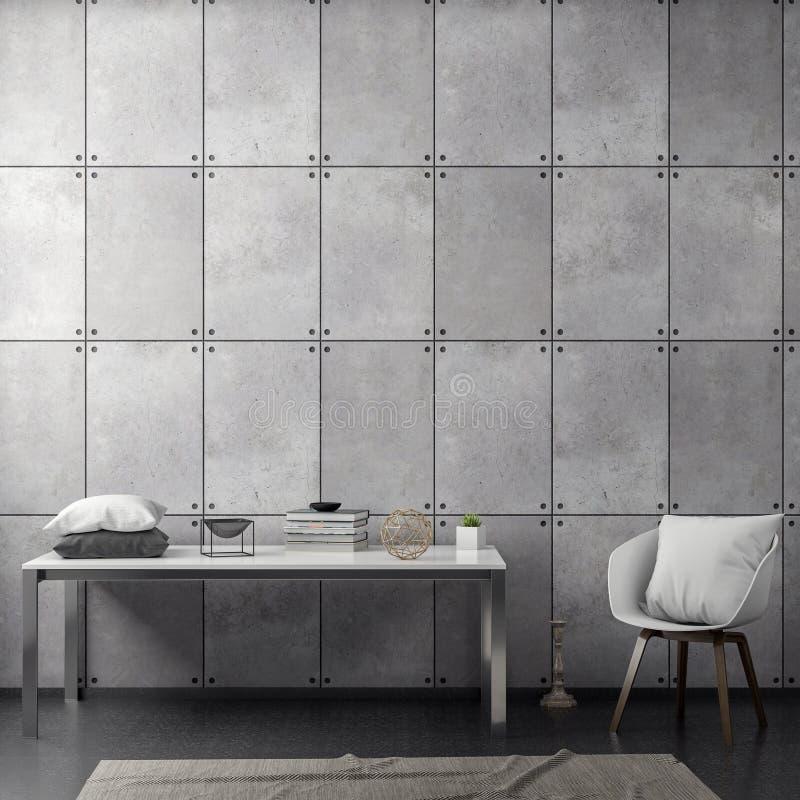 Interno del salone con il muro di cemento, rappresentazione 3D illustrazione di stock