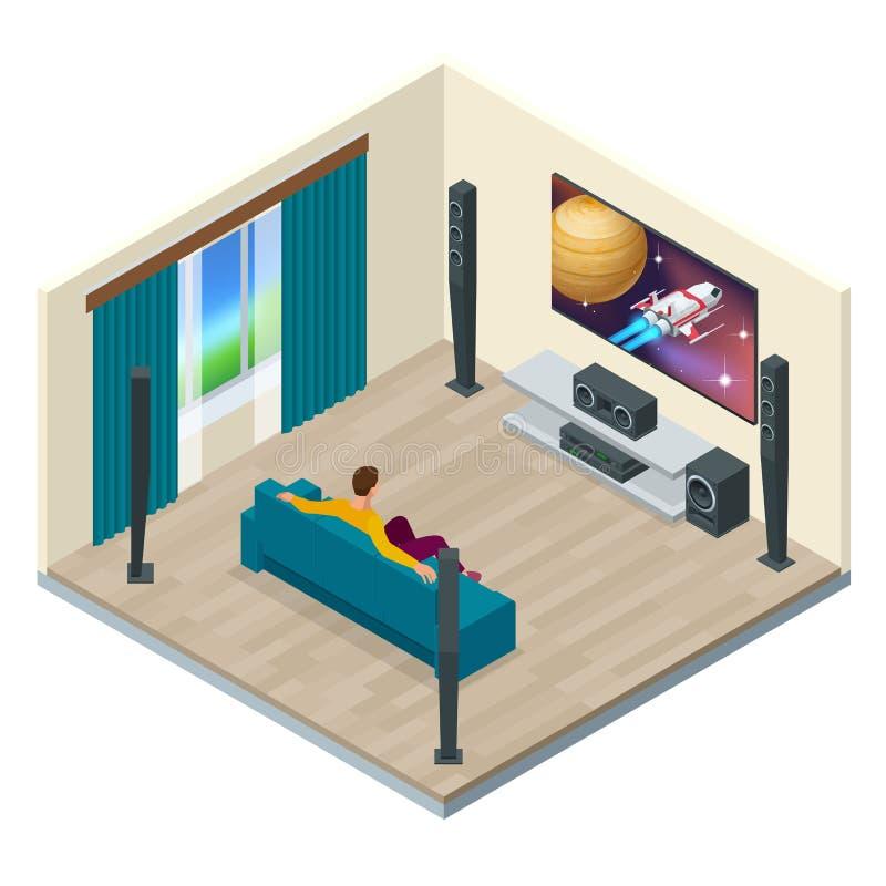 Interno del salone con il sistema moderno del teatro domestico Digital creata ed alta risoluzione resa Teatro domestico royalty illustrazione gratis
