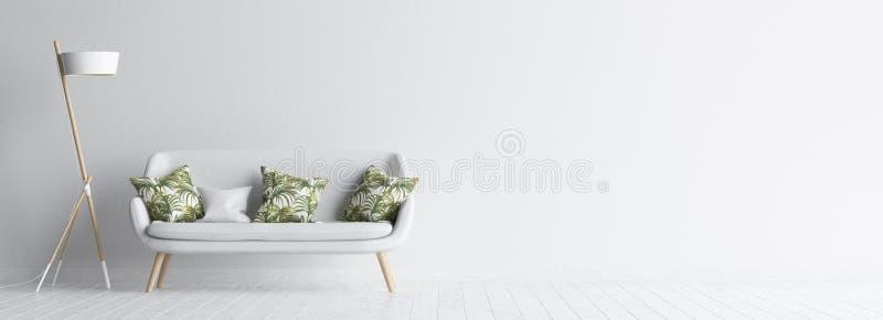 Interno del salone con il sofà e la lampada bianchi, derisione bianca della parete su fondo illustrazione vettoriale