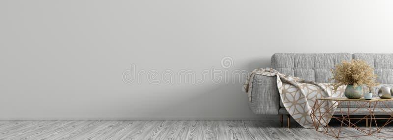 Interno del salone con il sofà grigio, rappresentazione di panorama 3d del tavolino da salotto royalty illustrazione gratis