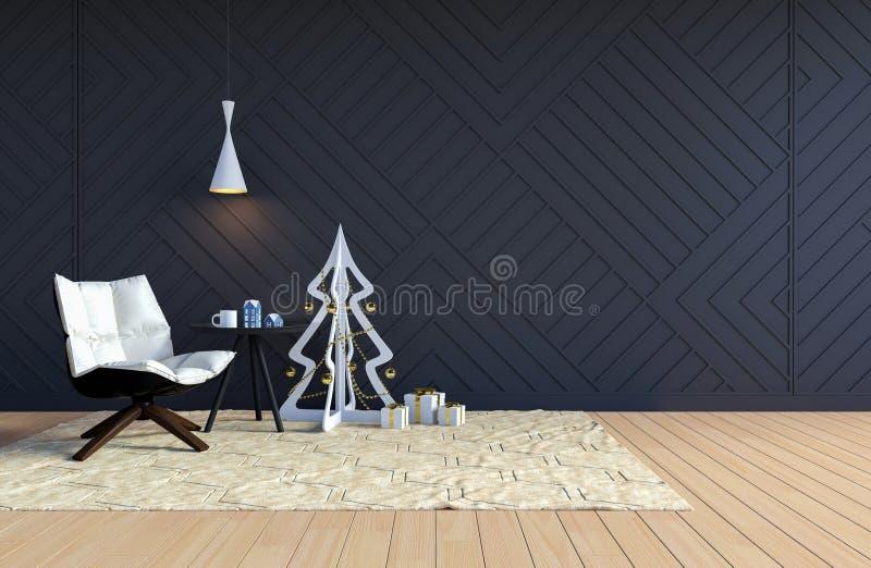 Interno del salone con l'albero nero di natale bianco e della parete per la festa di Natale fotografie stock libere da diritti