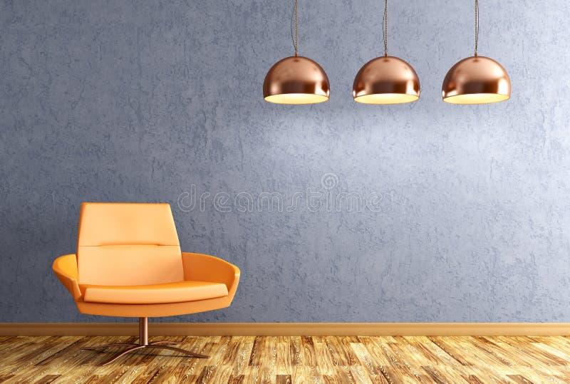 Interno del salone con la rappresentazione delle lampade e della poltrona 3d royalty illustrazione gratis