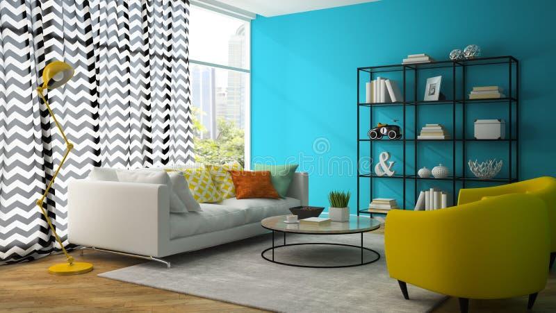 Interno del salone con la rappresentazione gialla della poltrona 3D illustrazione vettoriale