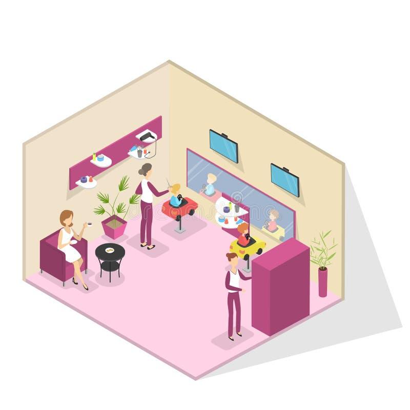 Interno del salone di bellezza con i bambini che ottengono un taglio di capelli royalty illustrazione gratis