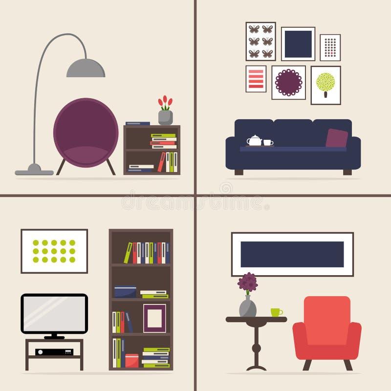 Interno del salone messo con quattro immagini Elementi isolati mobilia illustrazione vettoriale