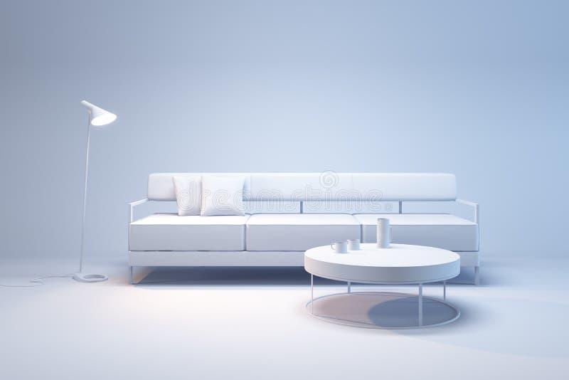 Interno del salone nello stile di minimalismo fotografia stock