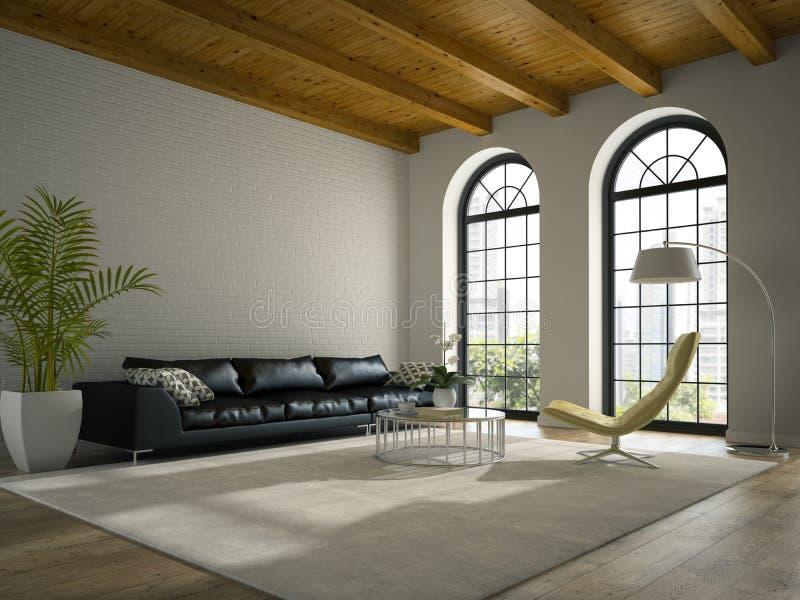 Interno del sottotetto di progettazione moderna con la rappresentazione nera del sofà 3D immagine stock