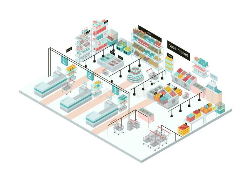 Interno del supermercato Drogheria Illustrazione isometrica variopinta illustrazione di stock
