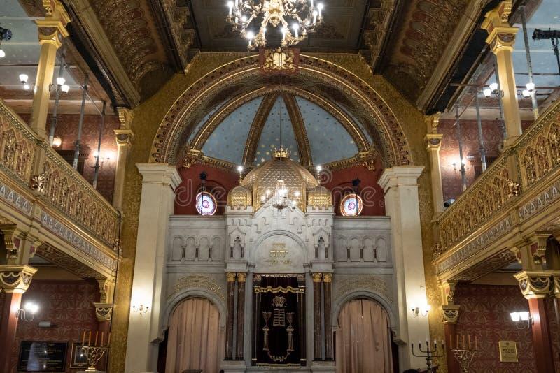 Interno del Tempel/sinagoga del tempio in via di Miodowa, Kazimierz, il quarto ebreo storico di Cracovia, Polonia fotografia stock