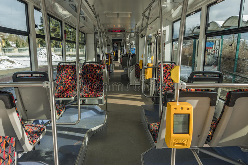 Interno del tram moderno a Liberec fotografie stock