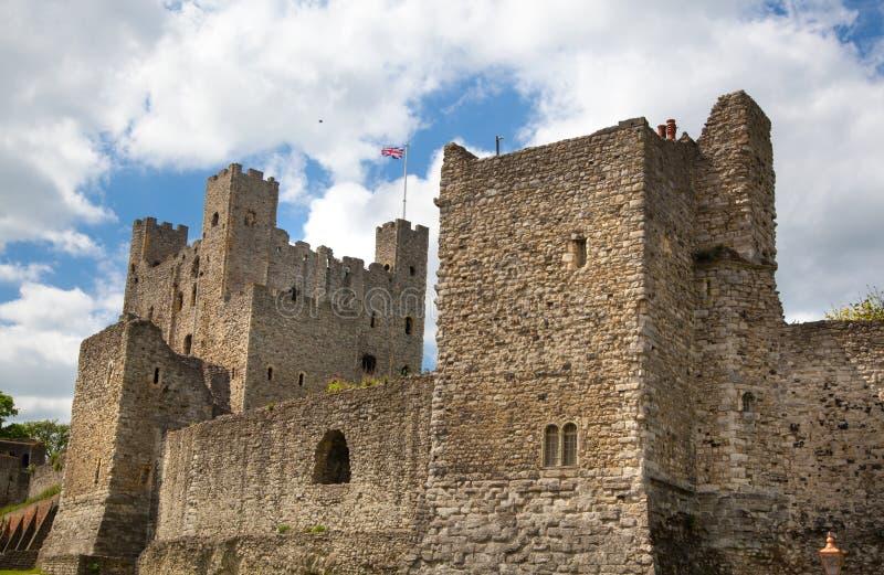 Interno del XII secolo del castello di Rochester Castello e rovine delle fortificazioni Risonanza, Inghilterra sudorientale fotografia stock libera da diritti