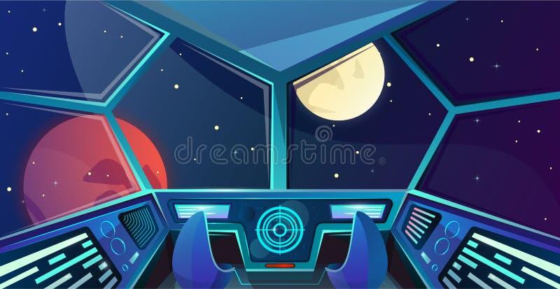 Interno dell'astronave del ponte dei capitani con la sedia nello stile del fumetto Illustrazione futuristica di vettore del posto royalty illustrazione gratis