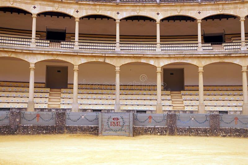 Interno dell'corrida-arena a Ronda, Spagna immagini stock
