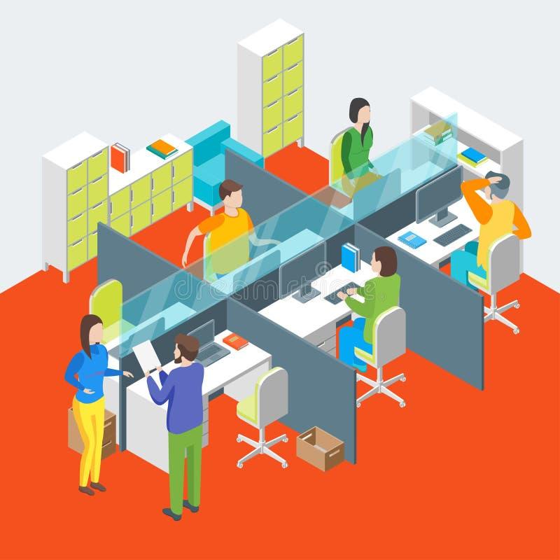 Interno dell'ufficio dell'area di lavoro con la vista isometrica della mobilia Vettore royalty illustrazione gratis