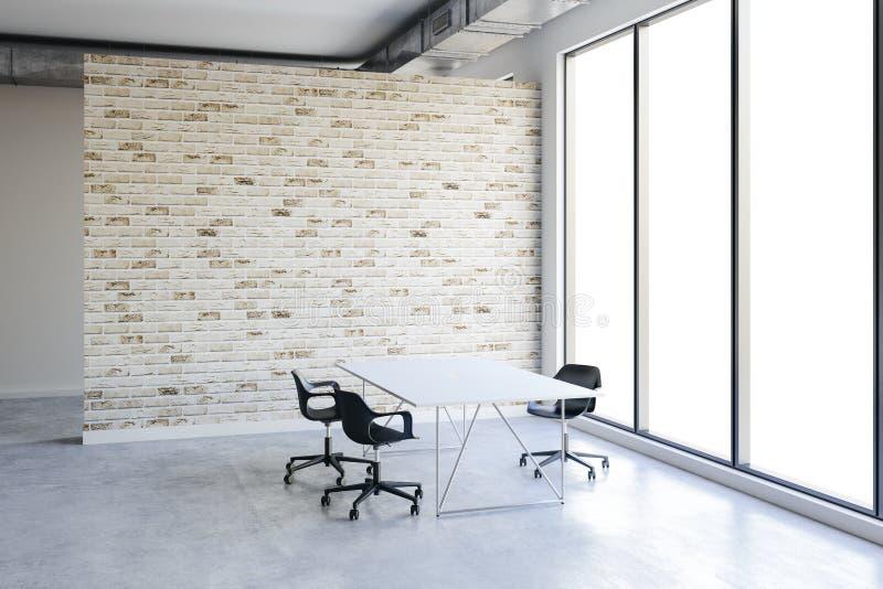 interno dell'ufficio 3d con le grandi finestre e la vista royalty illustrazione gratis