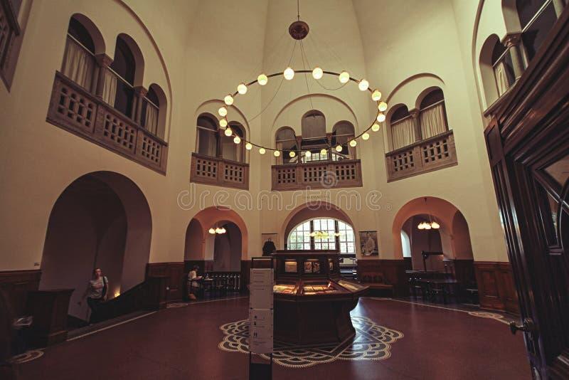 Interno della biblioteca reale, anche conosciuto come il diamante nero a Copenhaghen immagine stock libera da diritti