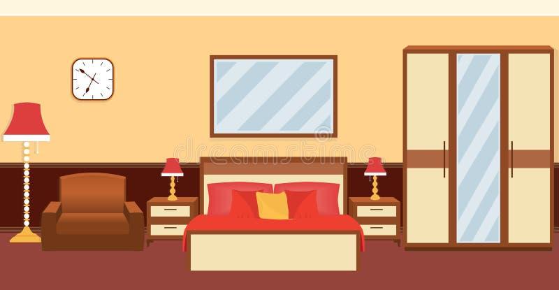 Interno della camera da letto a colori i colori caldi con mobilia illustrazione vettoriale - I segreti della camera da letto ...