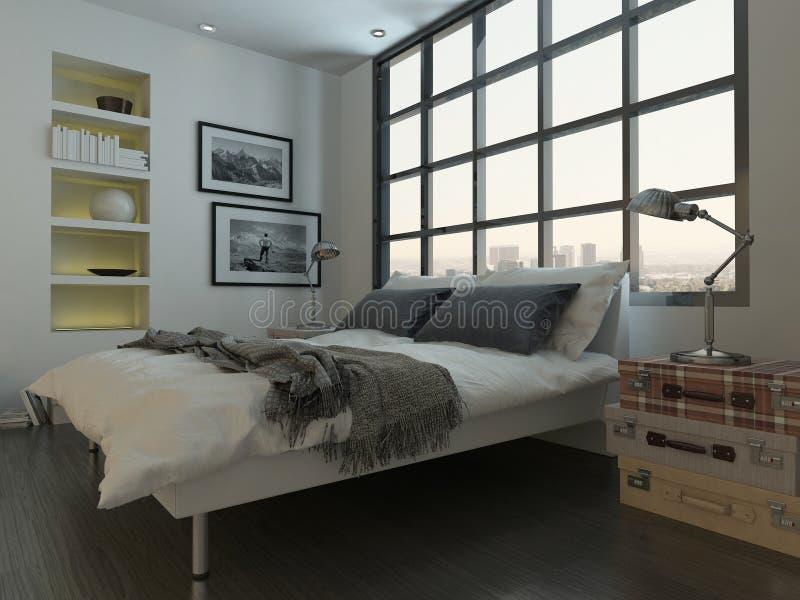 Interno della camera da letto con letto a due piazze contro la finestra enorme illustrazione di stock
