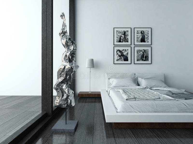 Interno della camera da letto con mobilia ed il letto moderni illustrazione di stock