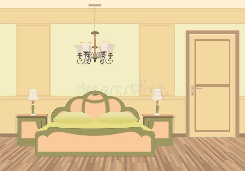 Interno della camera da letto con mobilia nello stile classico royalty illustrazione gratis