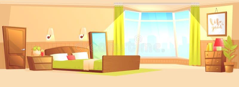 Interno della camera da letto con un letto, un comodino, un guardaroba e una finestra e una pianta illustrazione vettoriale