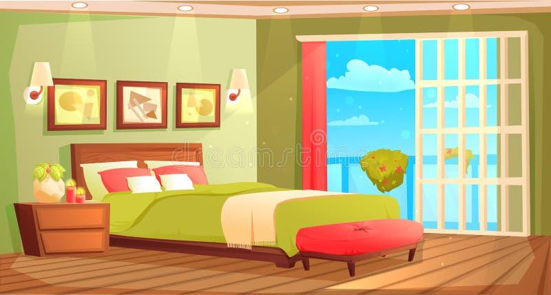 Interno della camera da letto con un letto, un comodino, un guardaroba e una finestra e una pianta Illustrazione del fumetto di v illustrazione di stock