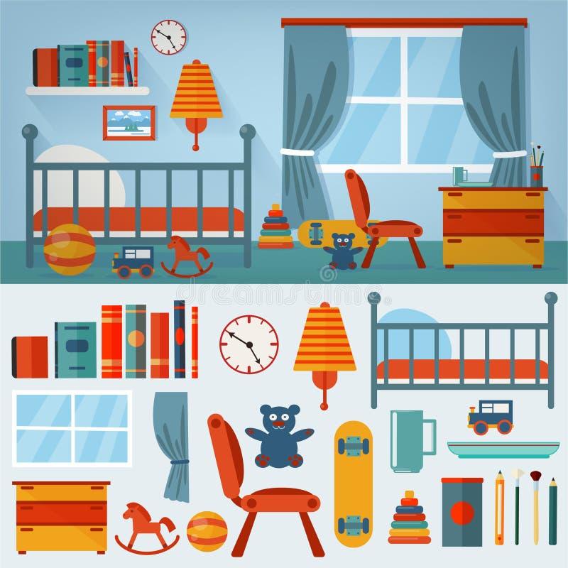 Interno della camera da letto dei bambini con mobilia e l'insieme dei giocattoli illustrazione vettoriale
