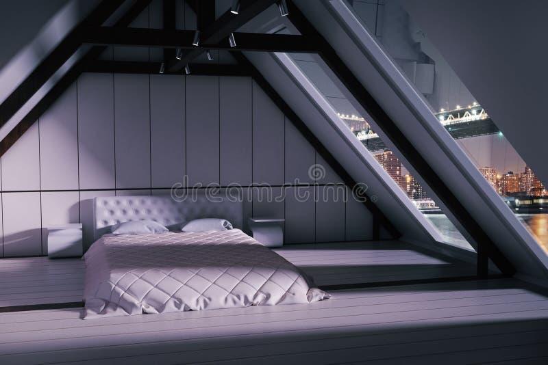 Interno della camera da letto del sottotetto royalty illustrazione gratis