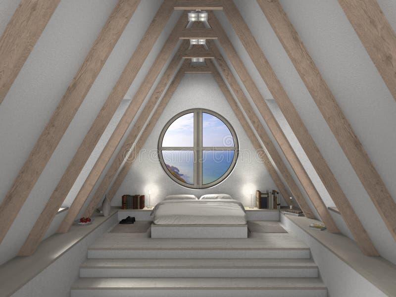 Interno della camera da letto della soffitta royalty illustrazione gratis
