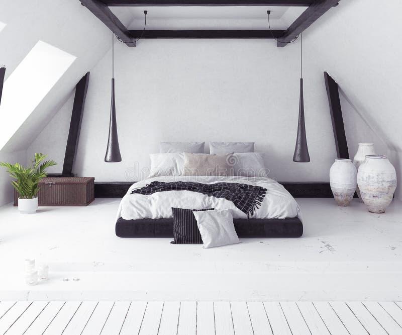 Interno della camera da letto di Scandi-boho royalty illustrazione gratis