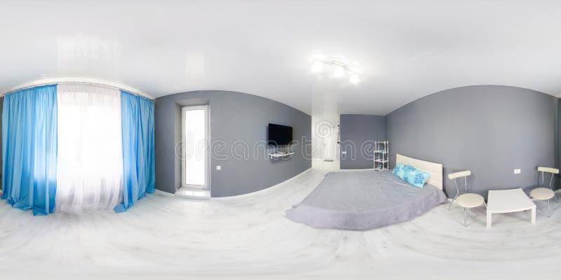 Interno della camera da letto Interno moderno della camera da letto di stile di minimalismo nei toni monocromatici fotografia stock