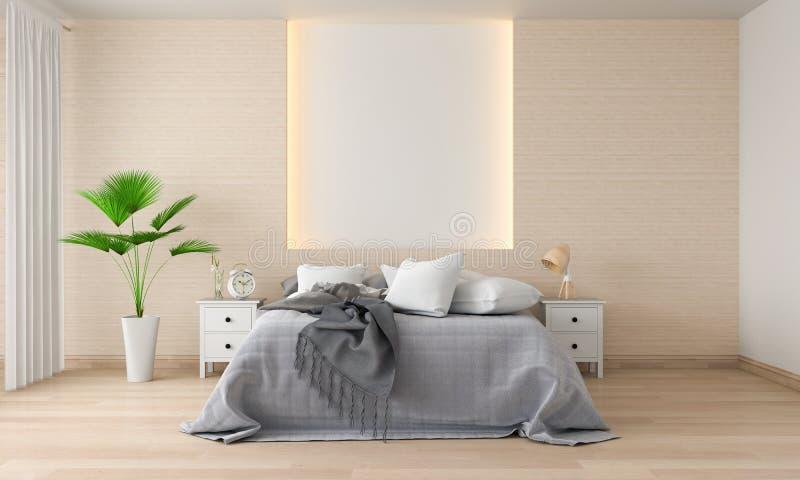 Interno della camera da letto per il modello, rappresentazione 3D fotografie stock libere da diritti