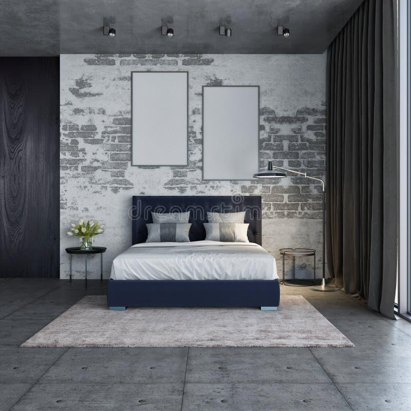 Interno della camera da letto, stile del sottotetto e camera da letto moderna, rappresentazione 3D immagini stock