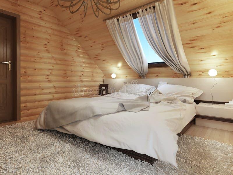 Interno della camera da letto in un collegamento il pavimento della soffitta con una finestra - Pavimento interno moderno ...